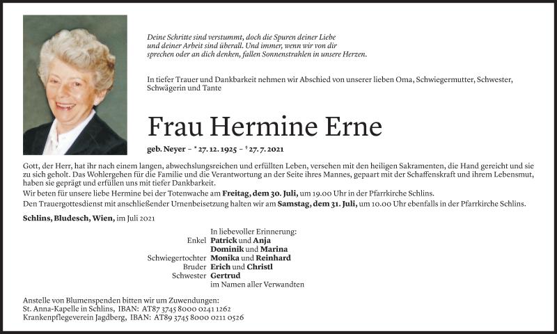 Todesanzeige für Hermine Erne vom 30.07.2021 aus Vorarlberger Nachrichten
