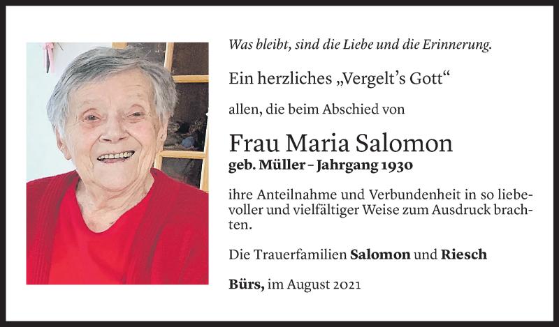 Todesanzeige für Maria Salomon vom 23.08.2021 aus Vorarlberger Nachrichten