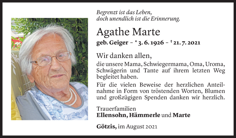 Todesanzeige für Agathe Marte vom 27.08.2021 aus Vorarlberger Nachrichten
