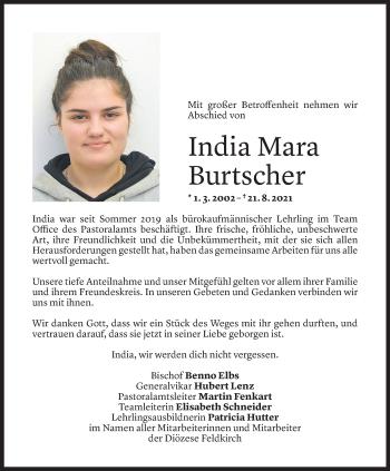 Todesanzeige von India Mara Burtscher von Vorarlberger Nachrichten