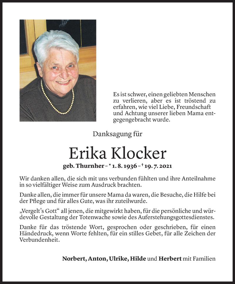 Todesanzeige für Erika Klocker vom 26.08.2021 aus Vorarlberger Nachrichten
