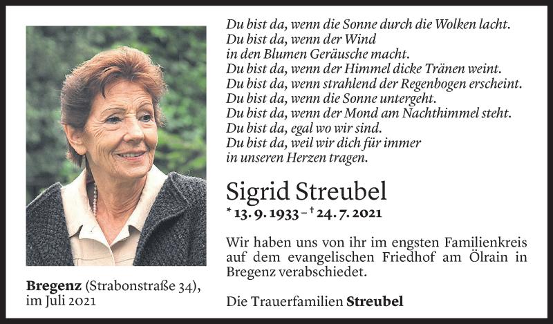Todesanzeige für Sigrid Streubel vom 05.08.2021 aus vorarlberger nachrichten