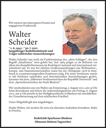 Todesanzeige von Walter Scheider von Vorarlberger Nachrichten