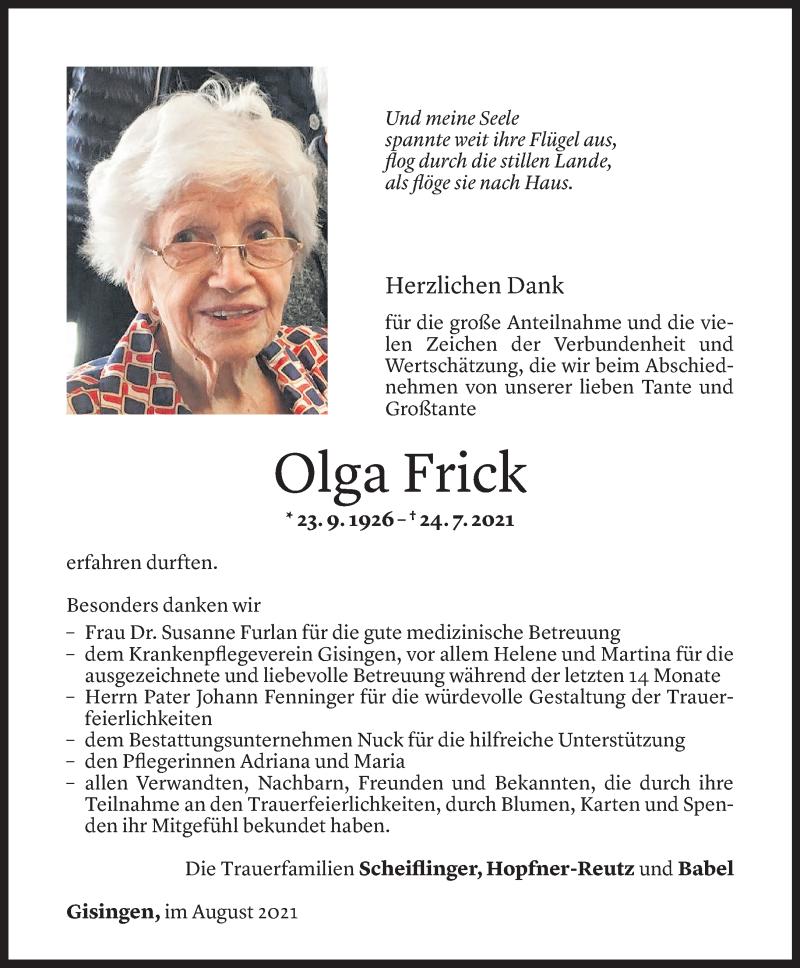 Todesanzeige für Olga Frick vom 24.08.2021 aus Vorarlberger Nachrichten
