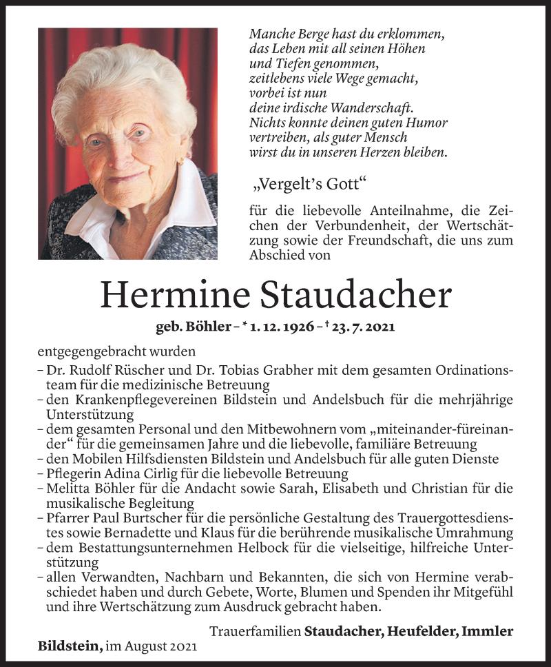 Todesanzeige für Hermine Staudacher vom 11.08.2021 aus Vorarlberger Nachrichten