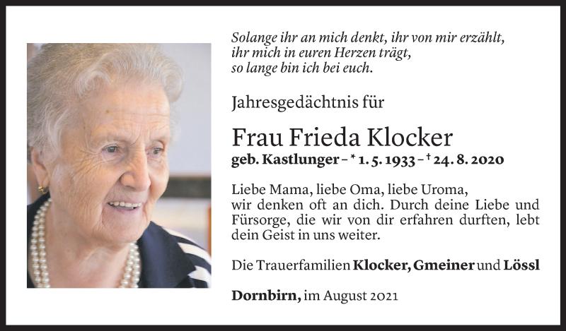 Todesanzeige für Frieda Klocker vom 23.08.2021 aus Vorarlberger Nachrichten