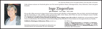Todesanzeige von Inge Ziegenfuss von Vorarlberger Nachrichten