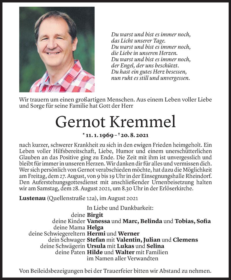 Todesanzeige für Gernot Kremmel vom 24.08.2021 aus Vorarlberger Nachrichten