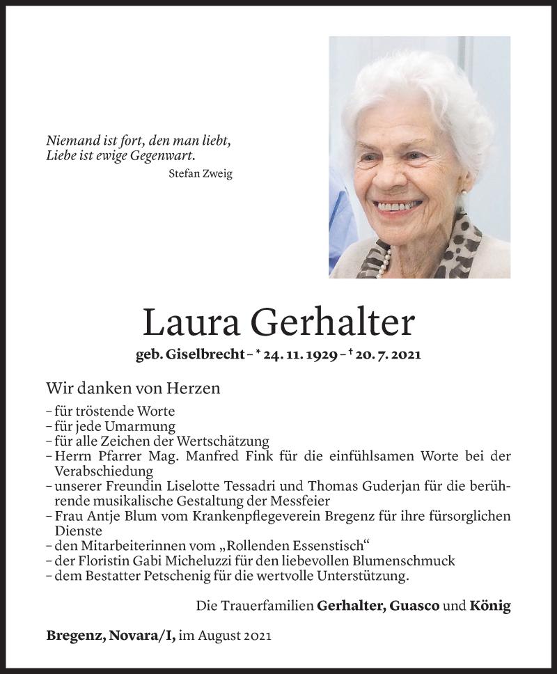 Todesanzeige für Laura Gerhalter vom 25.08.2021 aus Vorarlberger Nachrichten
