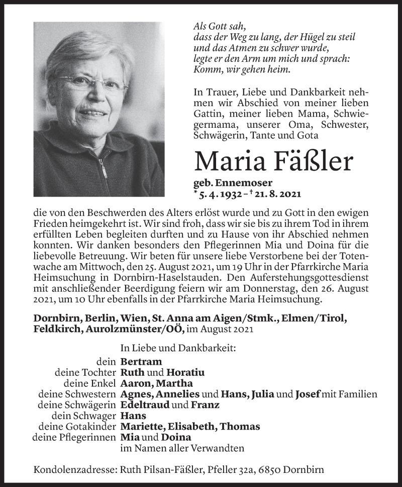 Todesanzeige für Maria Fäßler vom 23.08.2021 aus Vorarlberger Nachrichten