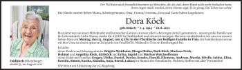 Todesanzeige von Dora Köck von Vorarlberger Nachrichten