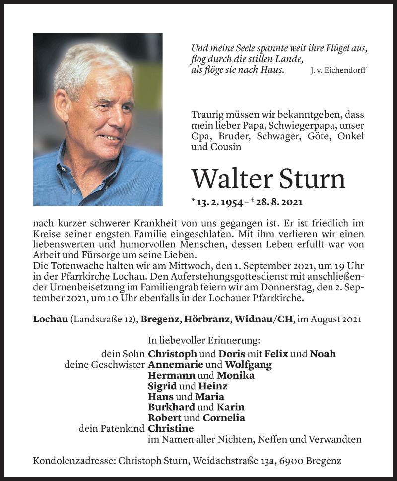 Todesanzeige für Walter Sturn vom 30.08.2021 aus Vorarlberger Nachrichten