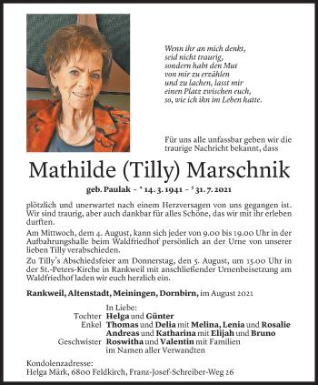 Todesanzeige von Mathilde Marschnik von Vorarlberger Nachrichten