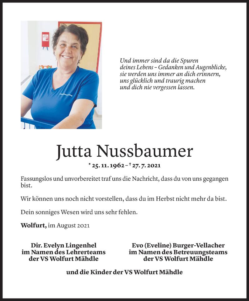 Todesanzeige für Jutta Nussbaumer vom 02.08.2021 aus Vorarlberger Nachrichten
