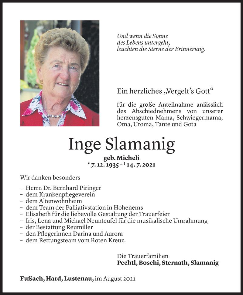 Todesanzeige für Inge Slamanig vom 13.08.2021 aus Vorarlberger Nachrichten