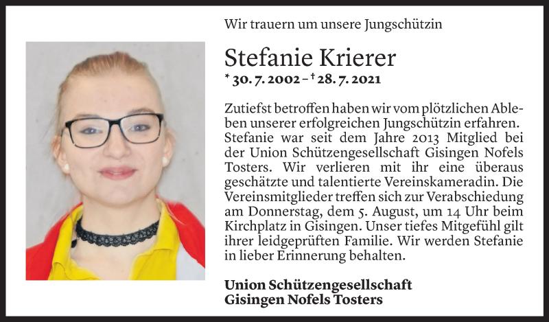 Todesanzeige für Stefanie Krierer vom 02.08.2021 aus Vorarlberger Nachrichten