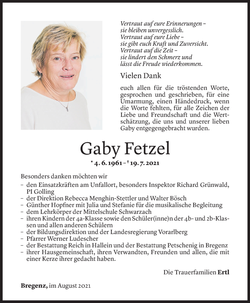 Todesanzeige für Gaby Fetzel vom 13.08.2021 aus Vorarlberger Nachrichten