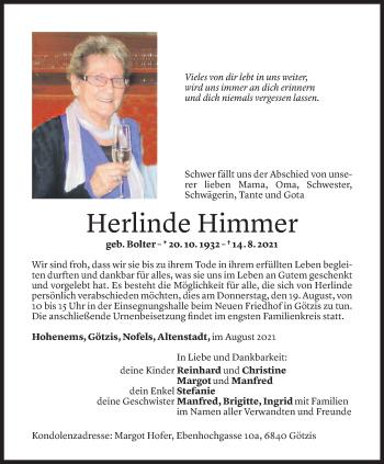 Todesanzeige von Herlinde Himmer von Vorarlberger Nachrichten