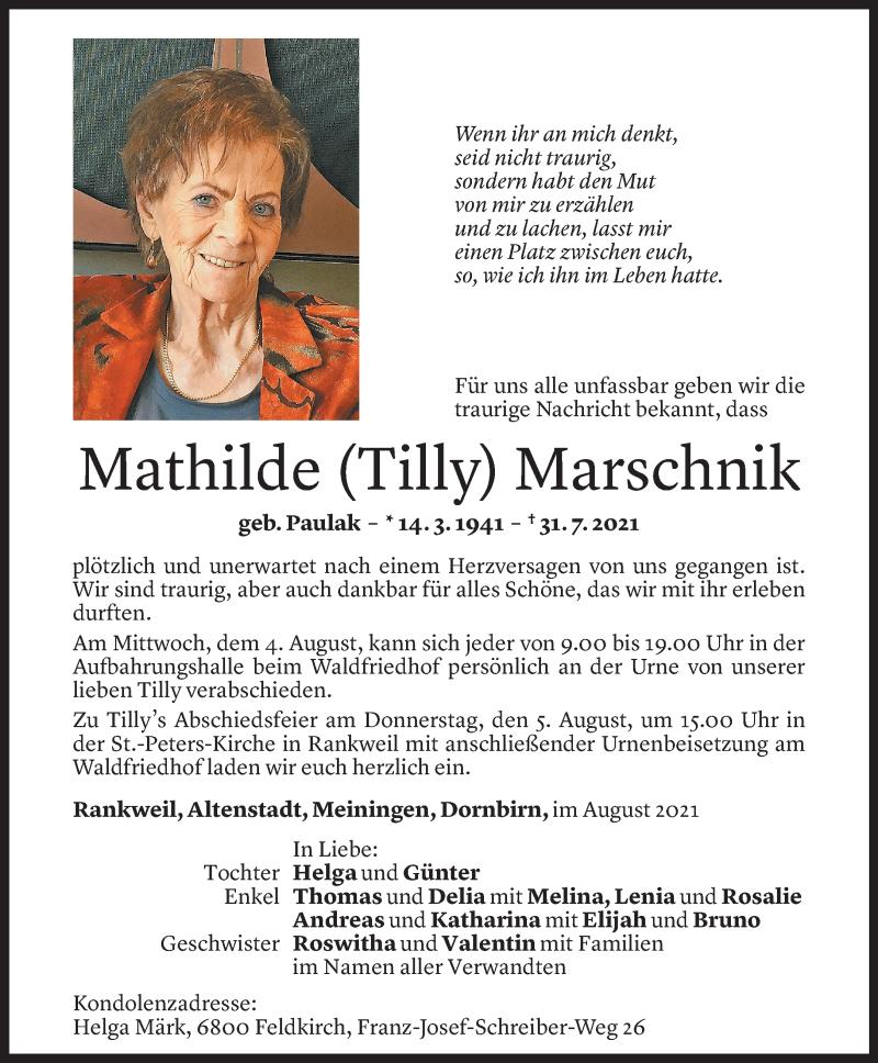 Todesanzeige für Mathilde Marschnik vom 03.08.2021 aus Vorarlberger Nachrichten