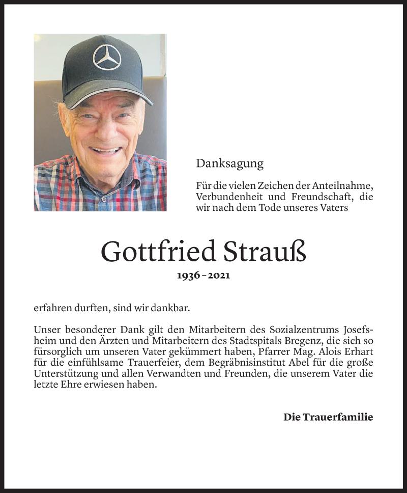 Todesanzeige für Gottfried Strauß vom 20.08.2021 aus Vorarlberger Nachrichten