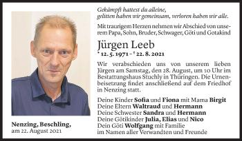 Todesanzeige von Jürgen Leeb von Vorarlberger Nachrichten