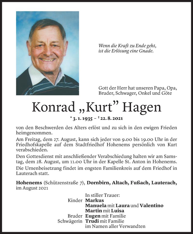 Todesanzeige für Konrad Hagen vom 25.08.2021 aus Vorarlberger Nachrichten