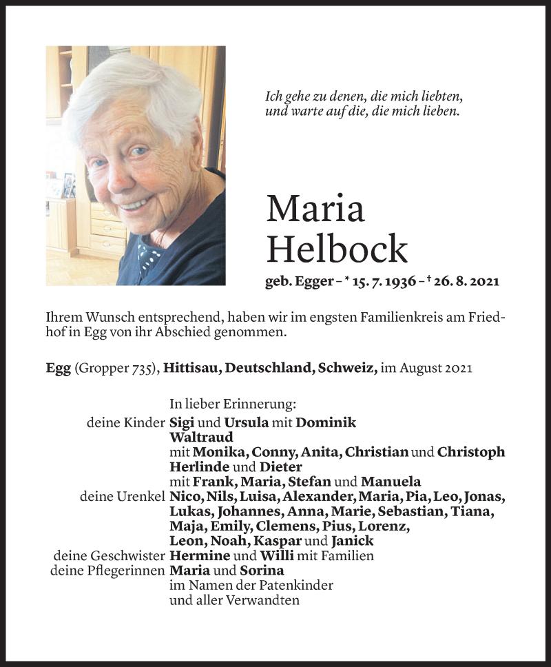 Todesanzeige für Maria Helbock vom 30.08.2021 aus Vorarlberger Nachrichten