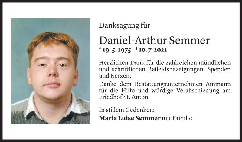 Todesanzeige für Daniel Arthur Semmer vom 08.08.2021 aus Vorarlberger Nachrichten