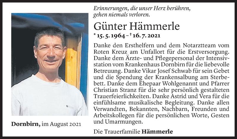 Todesanzeige für Günter Hämmerle vom 05.08.2021 aus Vorarlberger Nachrichten
