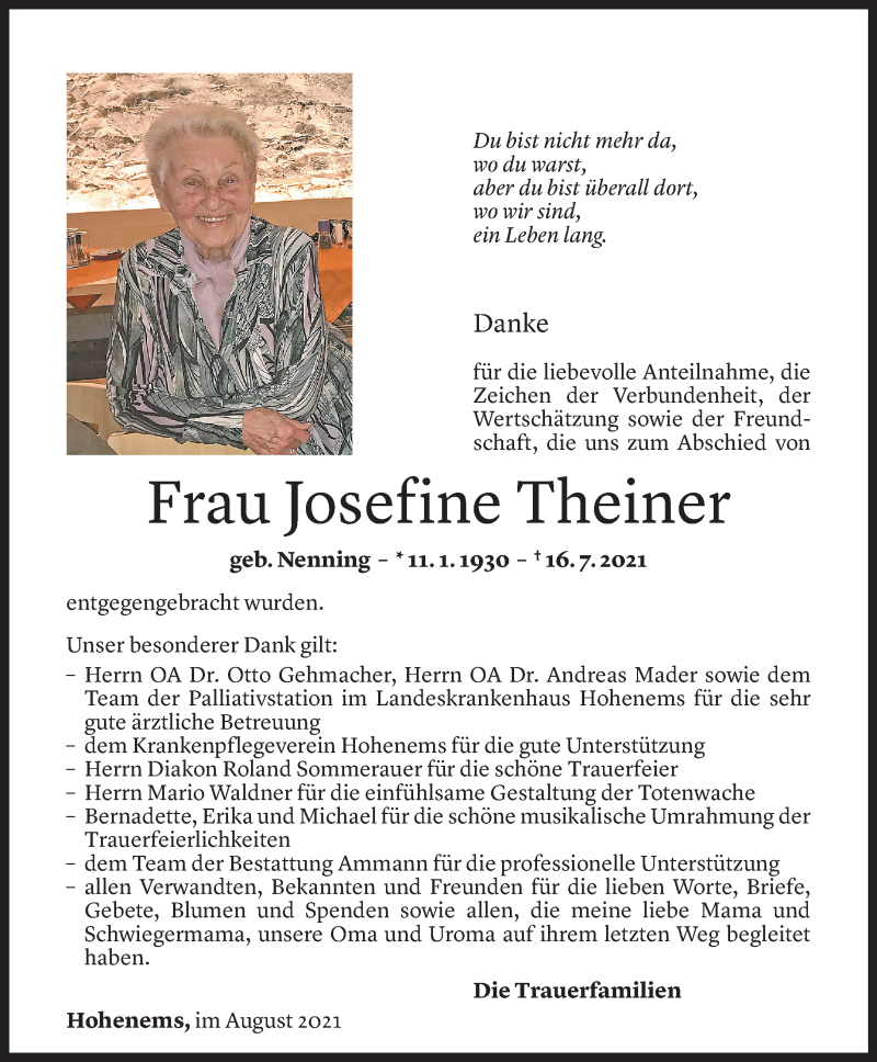 Todesanzeige für Josefine Theiner vom 06.08.2021 aus Vorarlberger Nachrichten