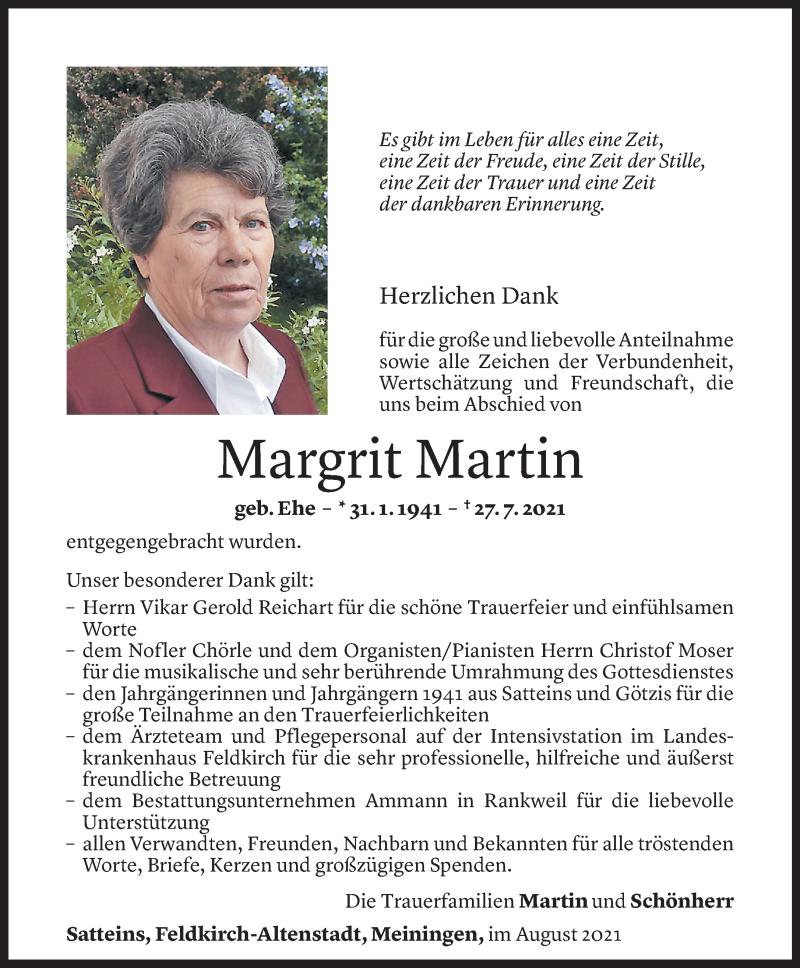 Todesanzeige für Margrit Martin vom 21.08.2021 aus Vorarlberger Nachrichten
