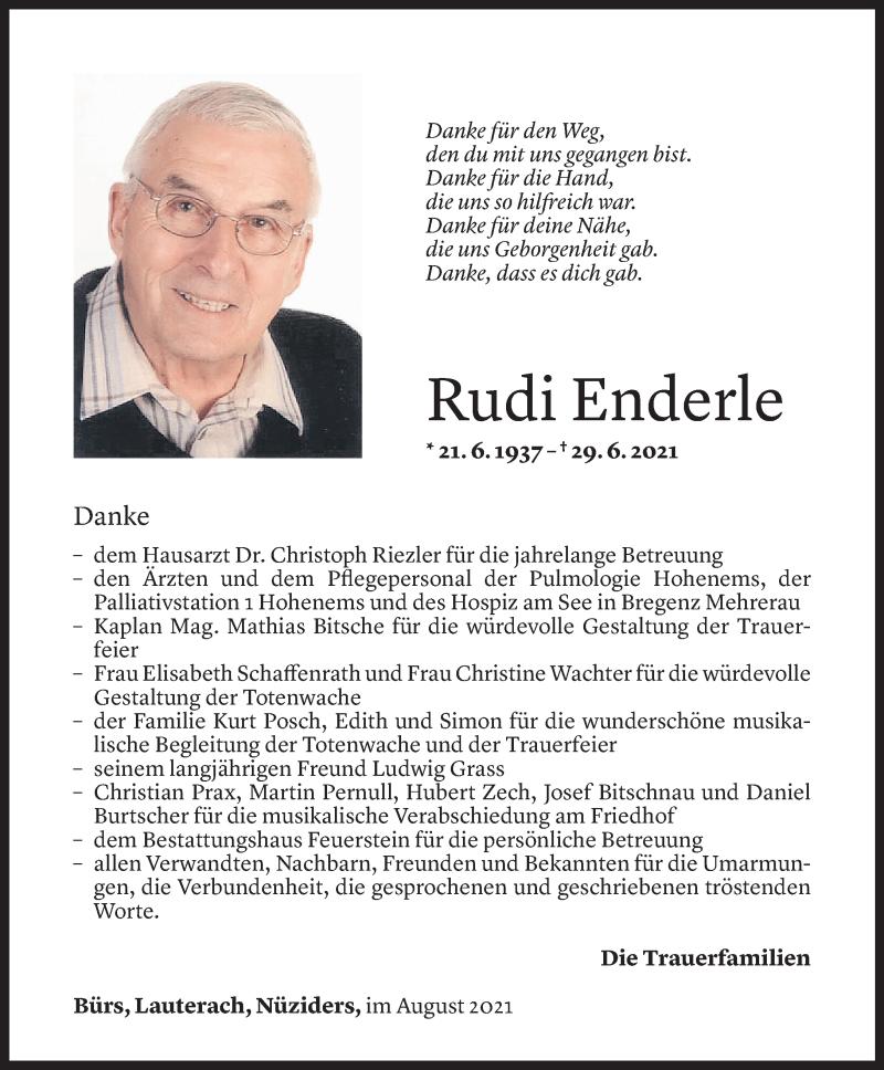 Todesanzeige für Rudi Enderle vom 11.08.2021 aus Vorarlberger Nachrichten