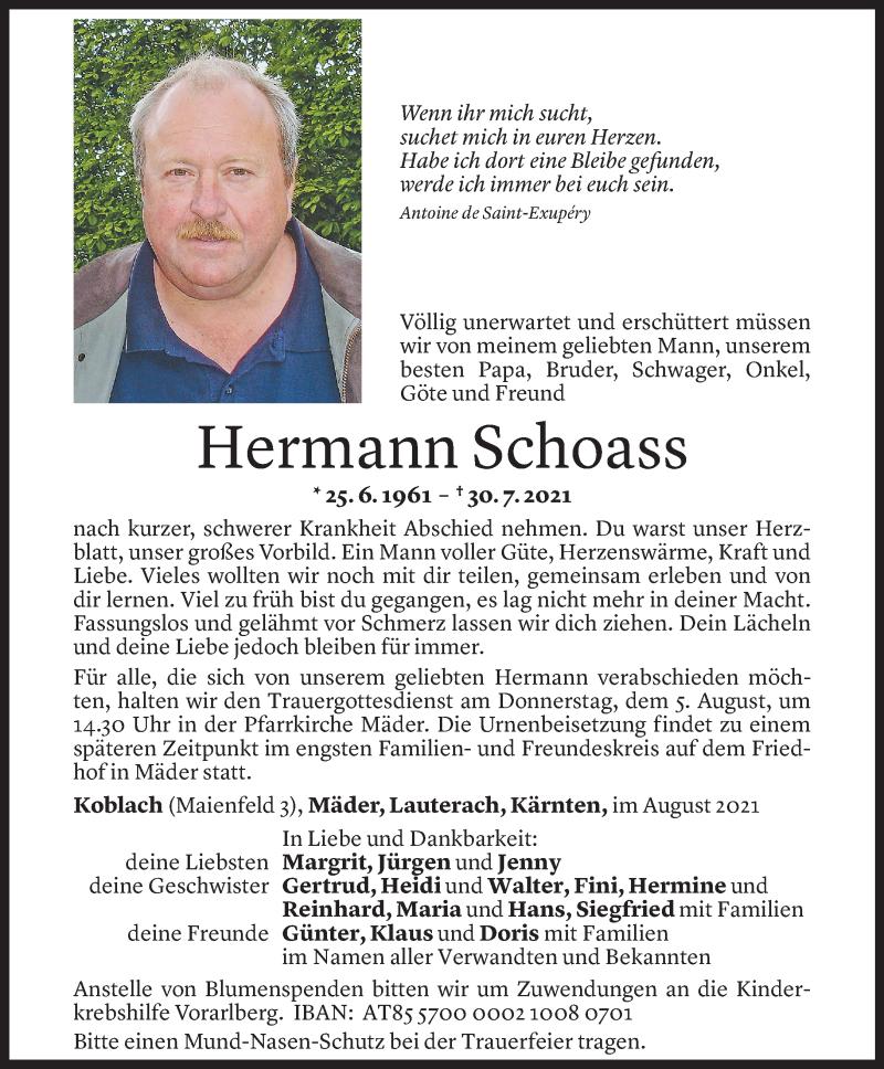 Todesanzeige für Hermann Schoass vom 03.08.2021 aus Vorarlberger Nachrichten