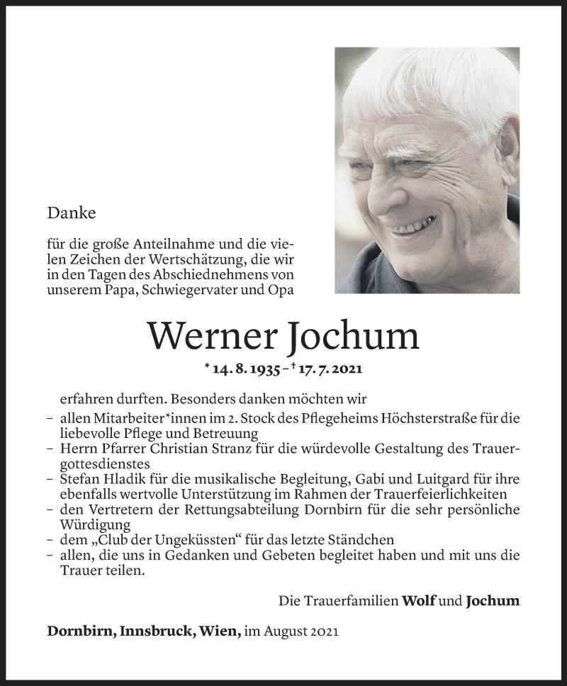 Todesanzeige für Werner Jochum vom 20.08.2021 aus Vorarlberger Nachrichten