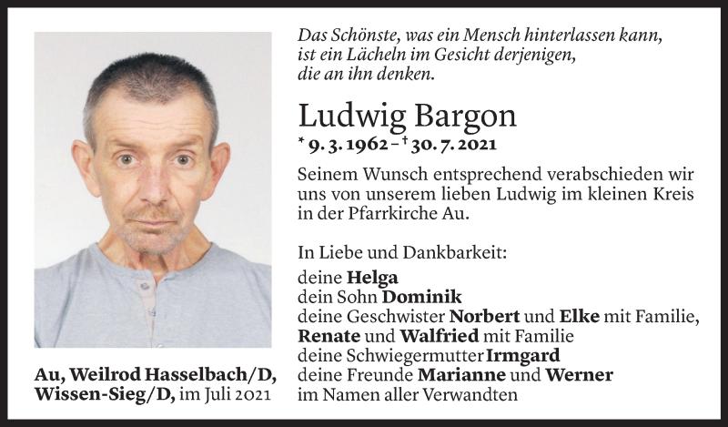 Todesanzeige für Ludwig Bargon vom 02.08.2021 aus Vorarlberger Nachrichten