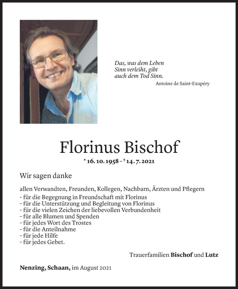 Todesanzeige für Florinus Bischof vom 05.08.2021 aus Vorarlberger Nachrichten