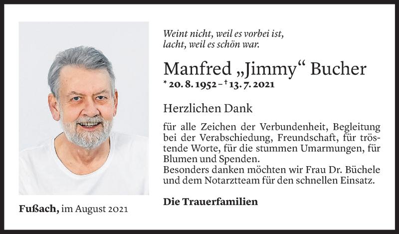 Todesanzeige für Manfred Bucher vom 17.08.2021 aus Vorarlberger Nachrichten