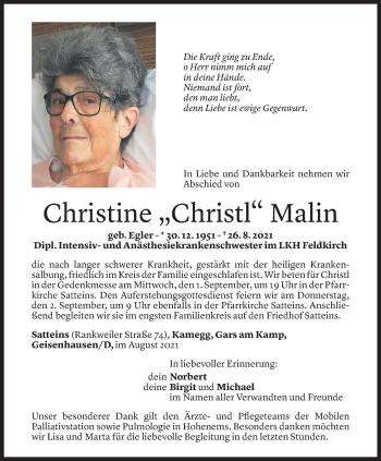 Todesanzeige von Christine Malin von Vorarlberger Nachrichten