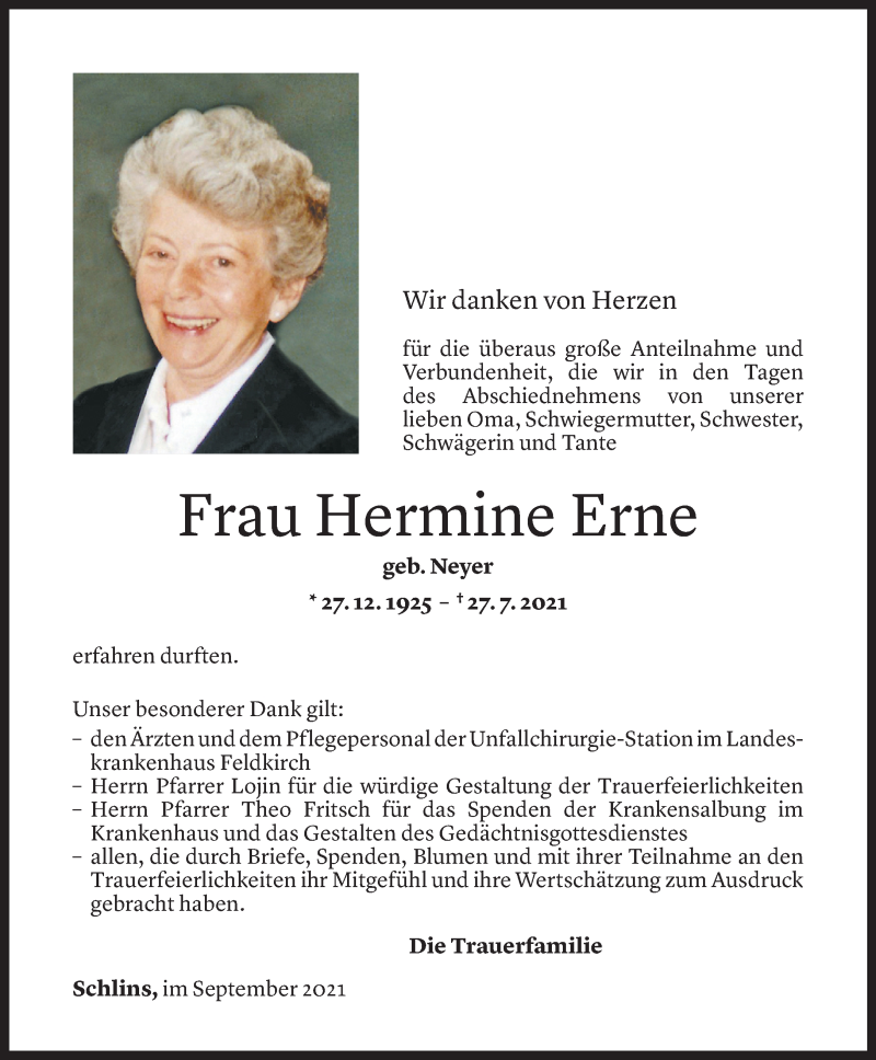 Todesanzeige für Hermine Erne vom 04.09.2021 aus Vorarlberger Nachrichten