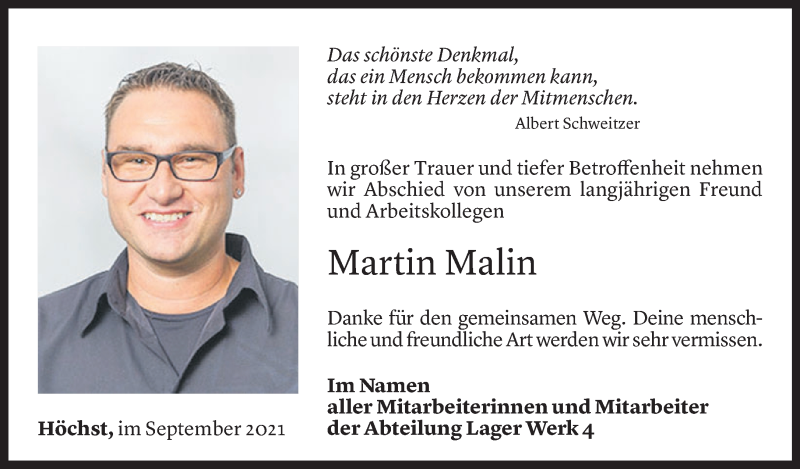 Todesanzeige für Martin Malin vom 14.09.2021 aus Vorarlberger Nachrichten