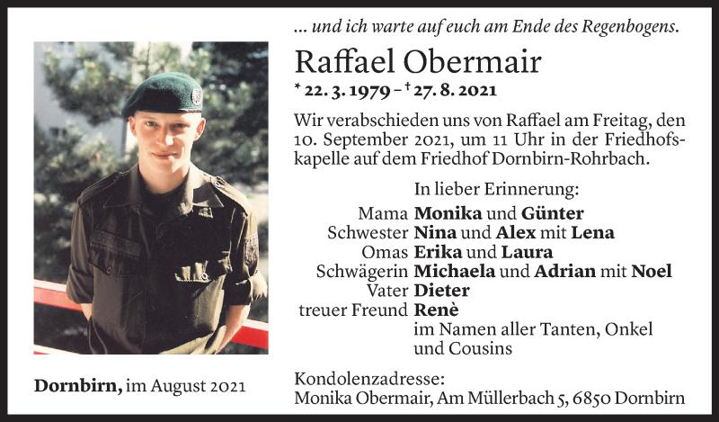 Todesanzeige für Raffael Obermair vom 07.09.2021 aus Vorarlberger Nachrichten
