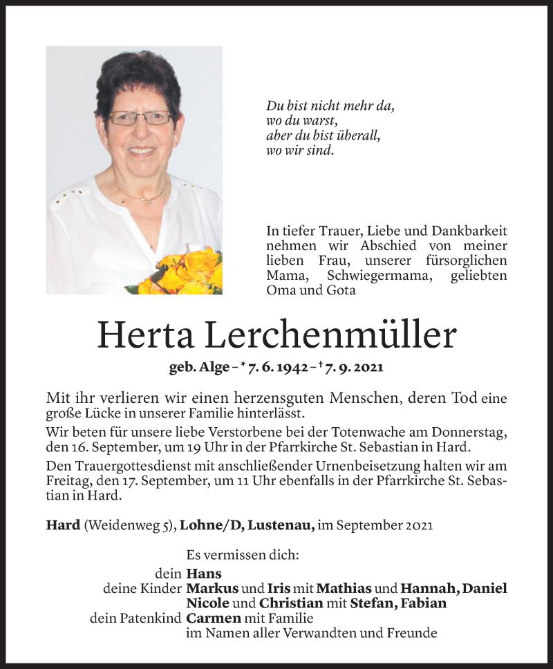 Todesanzeige für Herta Lerchenmüller vom 13.09.2021 aus Vorarlberger Nachrichten