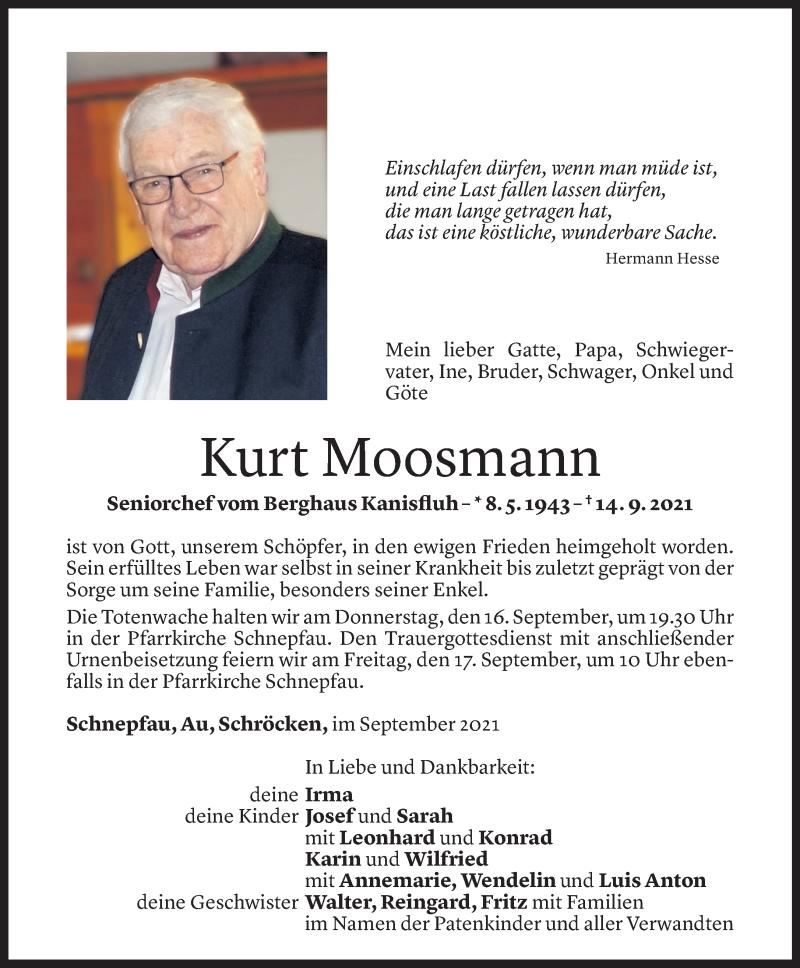 Todesanzeige für Kurt Moosmann vom 14.09.2021 aus Vorarlberger Nachrichten