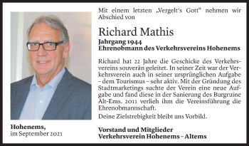 Todesanzeige von Richard Mathis von Vorarlberger Nachrichten