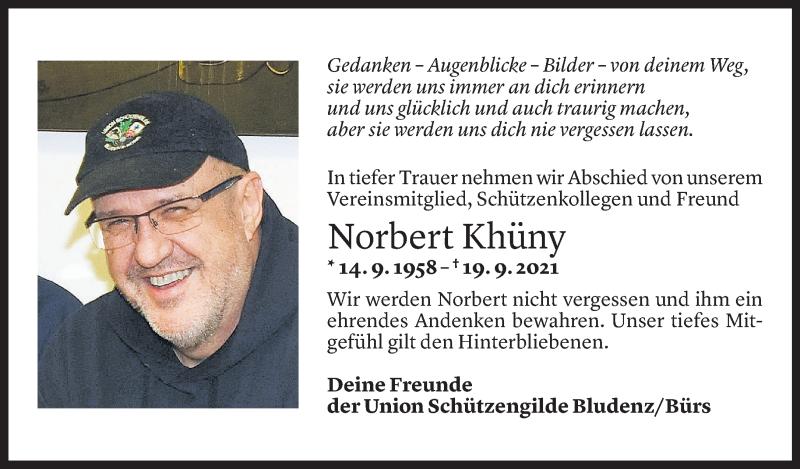 Todesanzeige für Norbert Khüny vom 27.09.2021 aus Vorarlberger Nachrichten