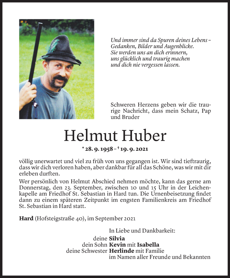 Todesanzeige für Helmut Huber vom 21.09.2021 aus Vorarlberger Nachrichten