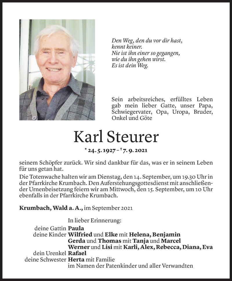 Todesanzeige für Karl Steurer vom 10.09.2021 aus Vorarlberger Nachrichten