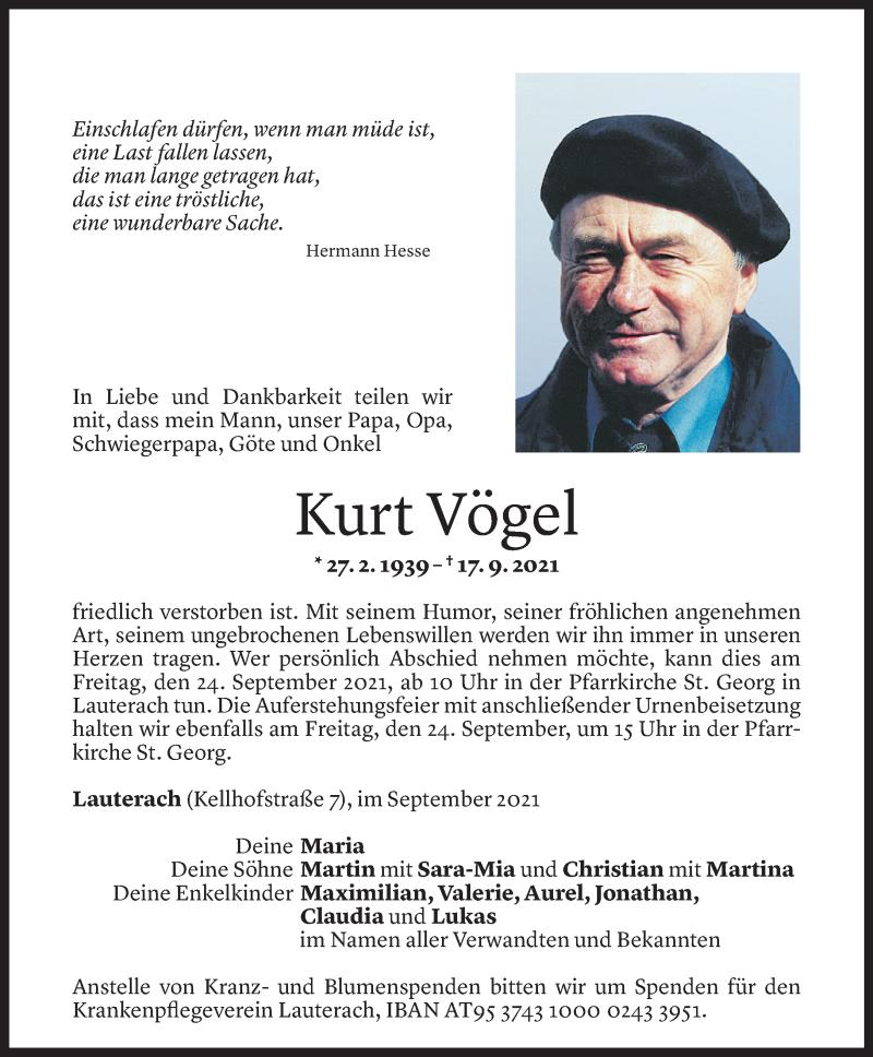 Todesanzeige für Kurt Vögel vom 21.09.2021 aus Vorarlberger Nachrichten