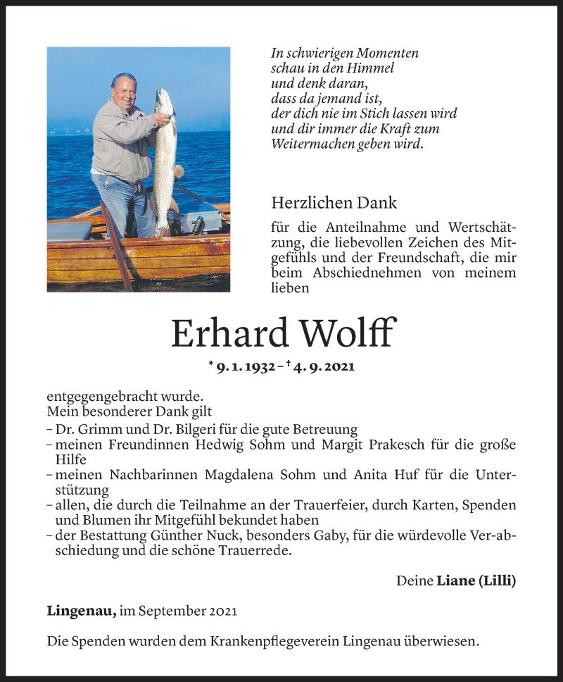 Todesanzeige für Erhard Wolff vom 25.09.2021 aus Vorarlberger Nachrichten
