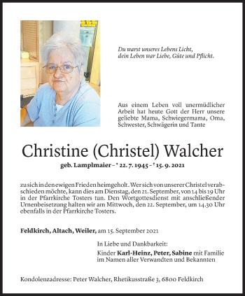 Todesanzeige von Christine Walcher von Vorarlberger Nachrichten